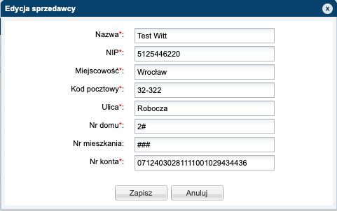 NeoKancelaria - widok okna edycji sprzedawcy